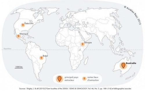 carte extraction mondiale d'opale